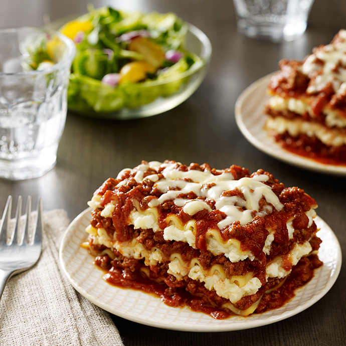 Skinny Three-Cheese Meat Lasagna - The Scrumptious Pumpkin