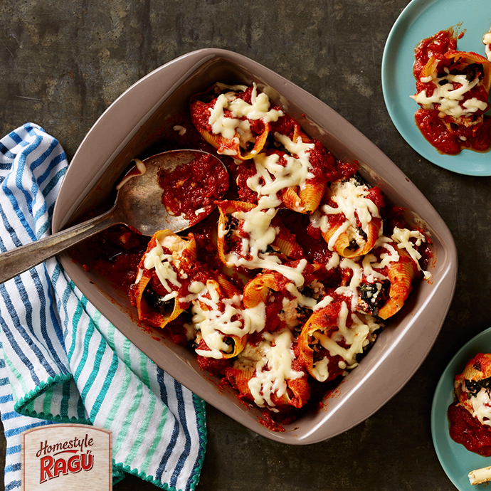 Stuffed Shells with Hearty Greens