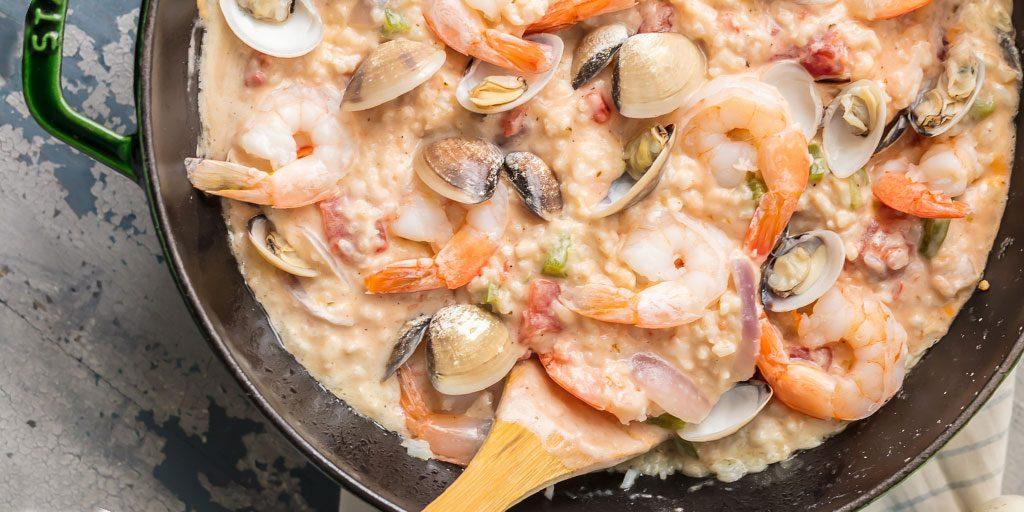 Seafood Alfredo Stovetop Paella