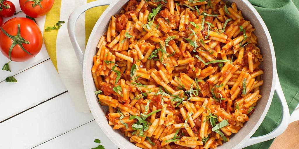 Quinoa Penne with Savory Tomato-Basil Sauce
