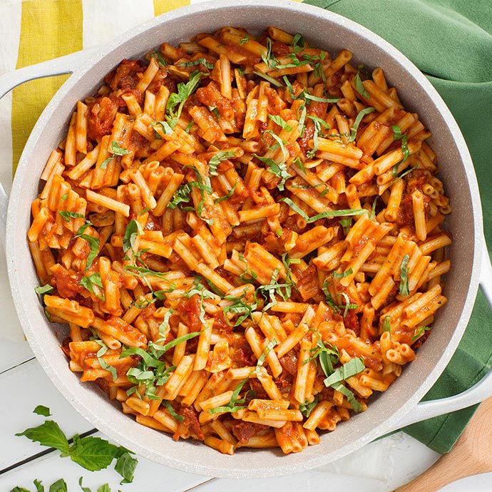 Quinoa Penne with Savory Tomato-Basil Sauce