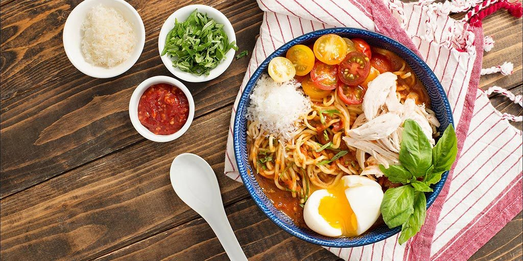 Hearty Italian-Style Ramen with Rich Tomato Broth