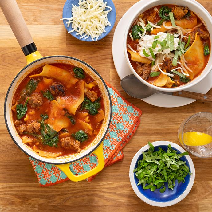 One-Pot Spinach & Sausage Lasagna Soup